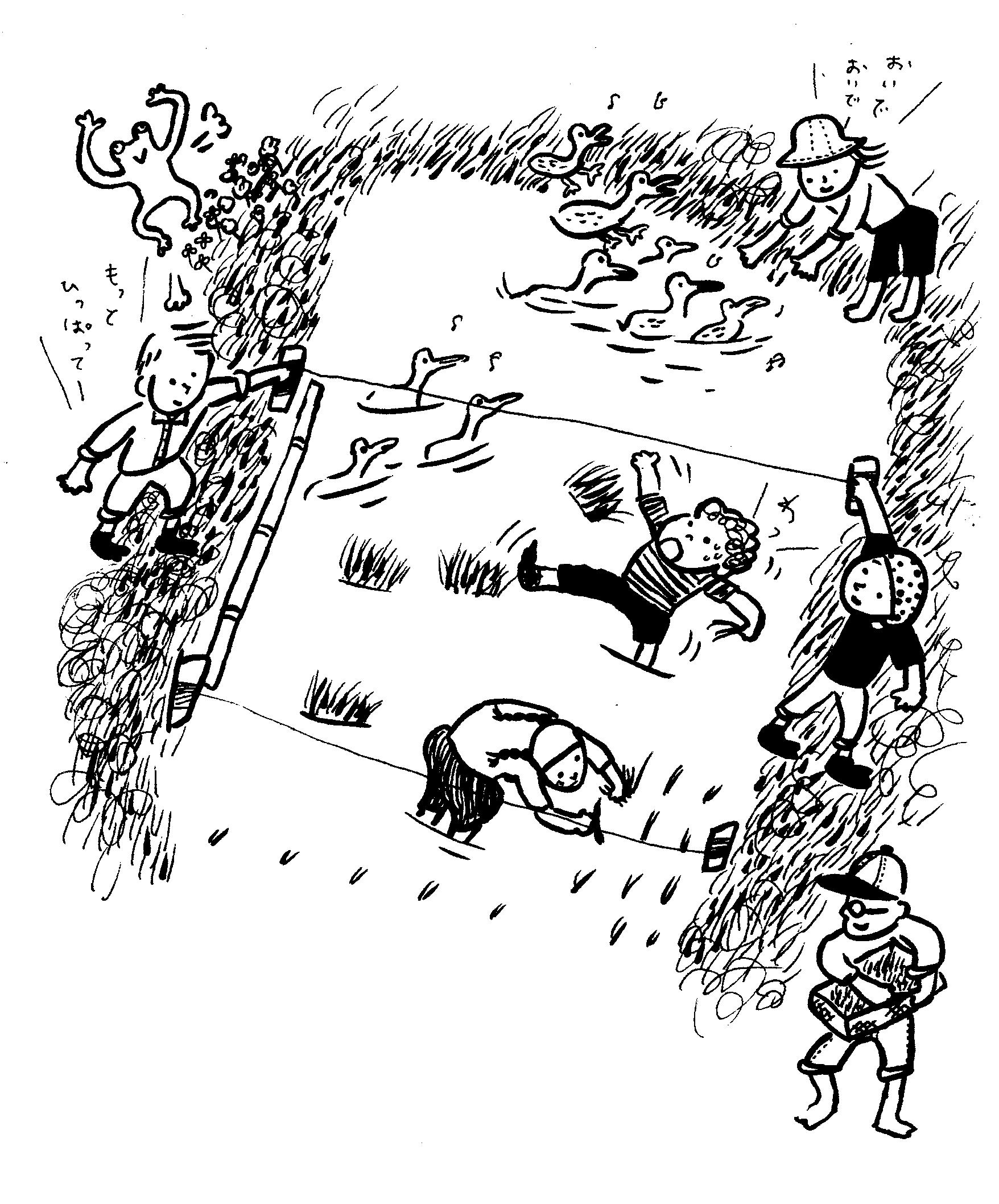 田んぼ手植え風景のイラスト